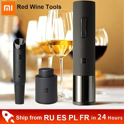 Xiaomi Automatic Red Wine Bottle Opener Electric Wine Opener Cap Stopper Fast Decanter Set Corkscrew Foil Cutter Cork Out Tool