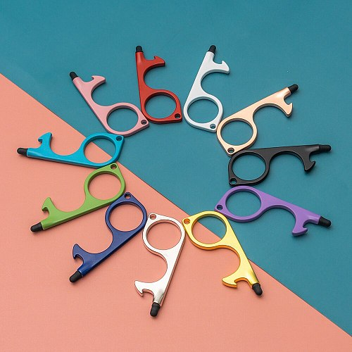 10PCS Non Contact EDC Door Opener Stretchable Keychain Silicone Anti-contact Touch Screen Corkscrew Elevator Opening Assistant