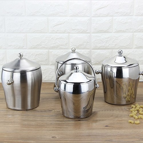 Stainless Steel Thickened Double Portabl Ice Bucket  With Cover Handle Double Ear Drum Shape Heat Preservation Champagne Barrel