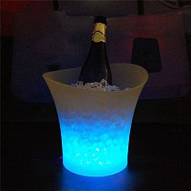 Drop Shipping 5L Waterproof  LED Color Changing Plastic Ice Bucket Bars Nightclubs LED Light Up Champagne Beer Bucket Bars