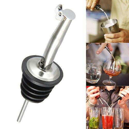 2pcs Stainless Steel Liquor Spirit Pourer Flow Wine Olive Oil Pour Spout Dispenser Bottle Stopper Barware