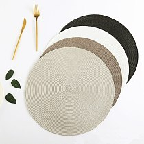 Round Woven Placemats Table Coasters  PP Waterproof Dining Non-Slip Napkin Disc Bowl Pads Drink Cup  Mat