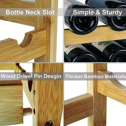 Wine Rack, Bamboo Wood Sturdy Wine Storage Cabinet Rack, Wine Rack Countertop Suitable for Food Cabinet