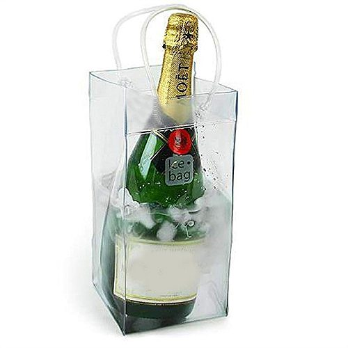 1pc PVC Leakproof Ice Bag ECO Friendly Transparent Ice Pack Portable Ice Bucket Wine Champagne Bottle Chiller With Carry Handle