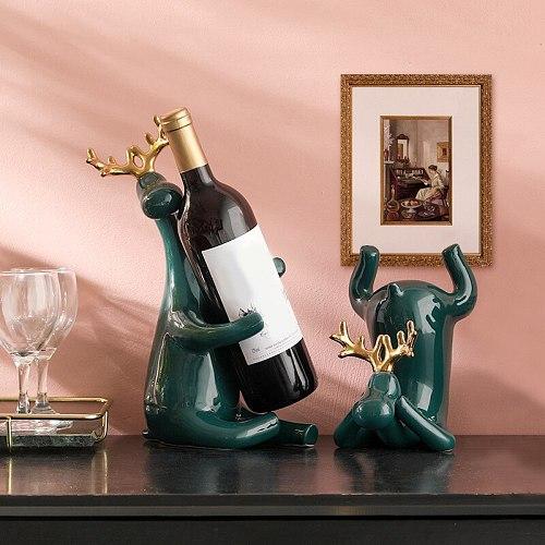 Wine Rack Statue Elk Bottle Holder Stand Simple and Creatives Ceramics Craft for Home Living Room Bar B1