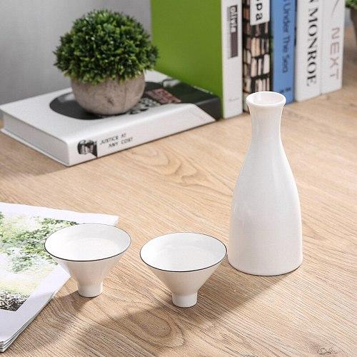 Bamboo Hat 1 Pot 2 Cup Sake Wine Set Ceramic Jug 300ml 45ml Vodka Spirits Gift Wine Home Bar Ceramic Drinkware Decanter