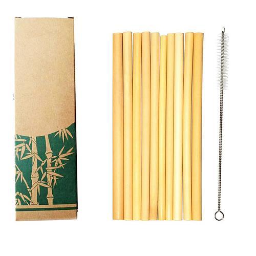 10Pcs/Set Natural Bamboo Straw Reusable Drinking Straws with Case + Clean Brush Eco-friendly Bamboo Straws Bar Tools