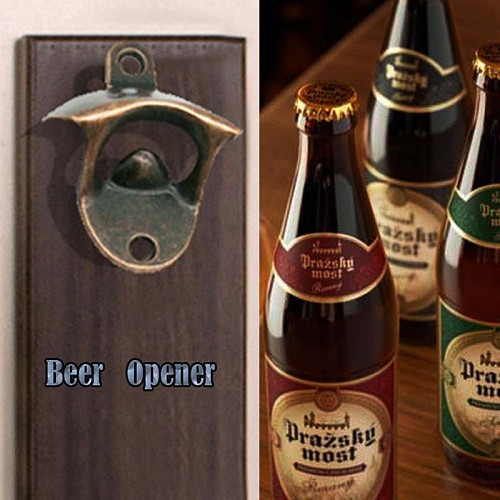 Red Bottle Open Wall Mounts Opener Rustic Red Beer Bronze Cast Iron Decorator Decorative Wall-Mounted Corkscrew Kitchen Gadgets