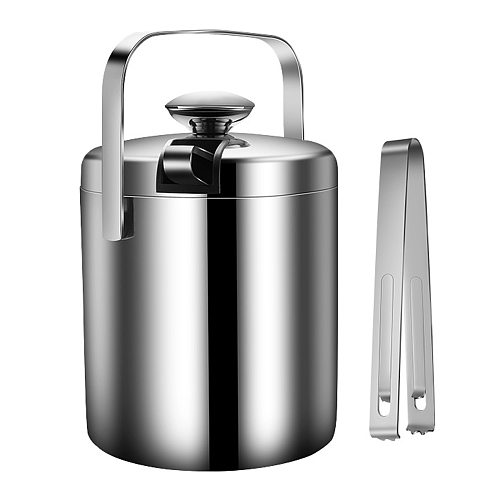 1.3L Large Ice Bucket Set Stainless Steel Ice Container Double Walled Ice Bucket Container with Tongs Tweezer Lid Drink Cooler