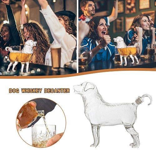 1Pcs Whiskey Decanter Animal Dog Shape Design Glasses For Liquor Scotch Vodka Wine Bar Centerpiece Decoration Accessories