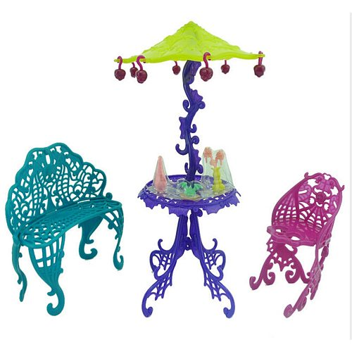 1Set Sun Umbrella Kid Toy Doll House Furniture For Barbie Doll Accessories Amusement Bar Couch Chair Table Dessert
