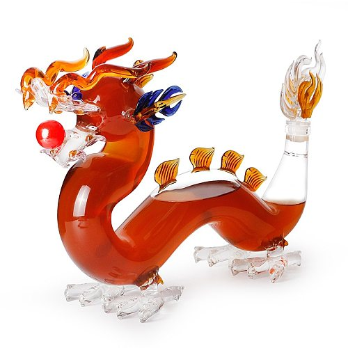 Hellodream luxury home bar glass lead-free chinese Dragon shaped Whiskey Decanter for Liquor Scotch Bourbon 1000ml