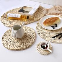 New 5sizes Coasters Round Table Padding Natural Bowl Cup Mat Hand-made Insulation Placemats Kitchen Accessories Table Decoration