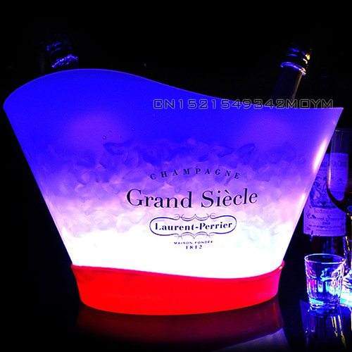 12L Super Large LED Ice Bucket Chargeable Champagne Wine Cooler Drink Holder Can Hold 7 Bottled Champagne/13 Bottled 330ml Beers
