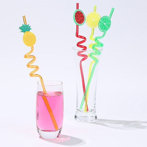 4Pcs Cartoon Lime Lemon Pineapple Watermelon Plastic Spiral Drinking Straws Children Use Birthday Party Bar Club Juice Wine Cup