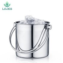 1L Double Wall Stainless Steel Ice Bucket Wine Cooler Whisky Wort Chiller With Portable Handle Hot Barware Champagne Buckets