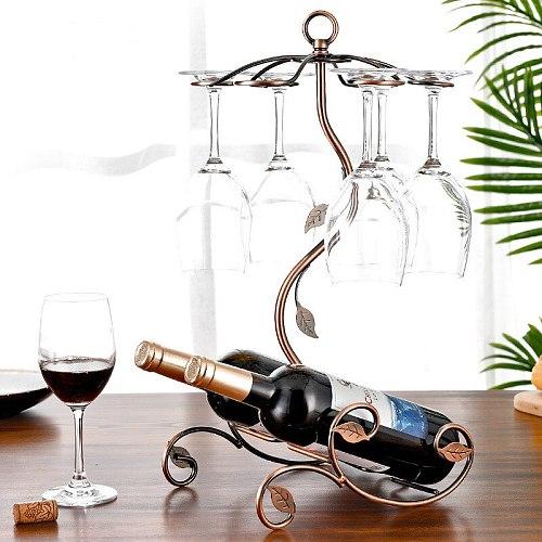 Multi-Functional Art Wine Rack Wine Basket Iron Cup Rack Wine Rack One Bar Tool Wine Decorations Storage Tools