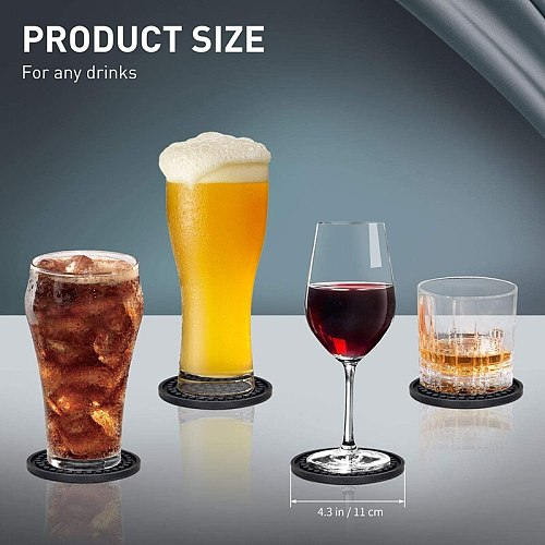 Silicone Drink Cup Coaster Set Of 6 With Holder Heat Resistant Tea Mug Pad Coffee Wine Coasters Pot Hot Mat Table Protector