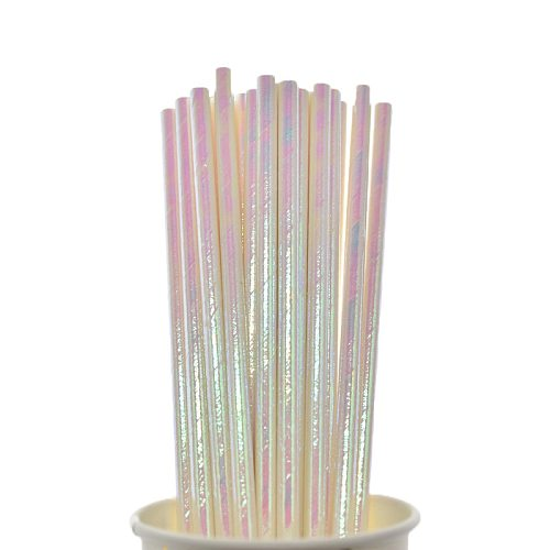 25pcs Foil Paper Straws White Wedding Favors Drinking Straws Birthday Party Decoration Kids Party Supplies for baby shower