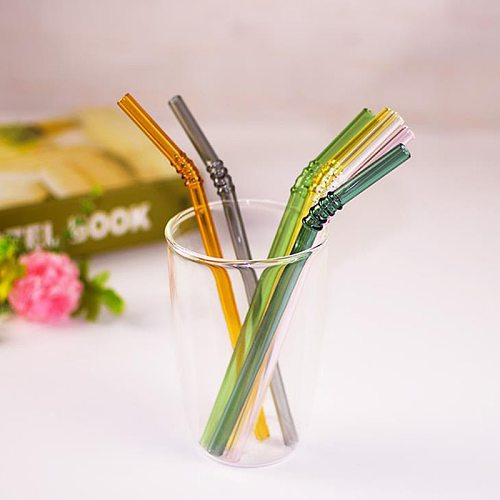 1PC Reusable Color Heat and High Temperature Resistant Straws Simple Oblique Mouth Juice Drink Straws Wedding Birthday Party