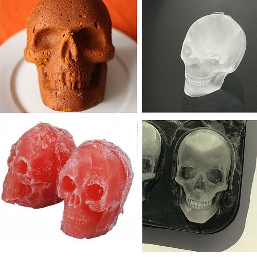Ice Cube Maker Skull Shape Chocolate Mould Ice Cream DIY Tool Whiskey Wine Cocktail Ice Cube Silicone Mold
