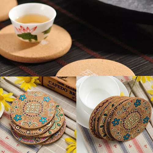 4X Color Round Cork Coaster Coffee Drink Tea Cup Mat Placemat Wine Party Creative Table Mat Decoration