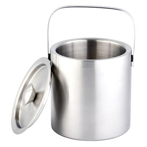 Large 1.3L Insulated Double Walled Stainless Steel Ice Bucket With Lid