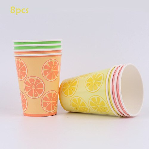 Color Disposable Party Tableware Children Birthday Party Supplies Disposable Cups and Saucers Napkin Straw Tablecloth Party Supp
