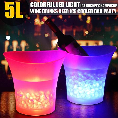 New LED 5L Waterproof Plastic Ice Bucket 7 Color Bars Nightclubs LED Light Up Champagne Beer Bucket Bars Night Party Ice Bucket
