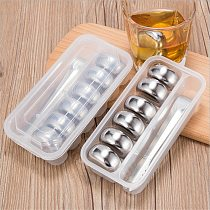4/6/8 PCS Stainless Steel Ice Cubes Whisky Wine Cooler Vodka Beer Cooling Reusable Chilling Stones Island with Clip Storage Box