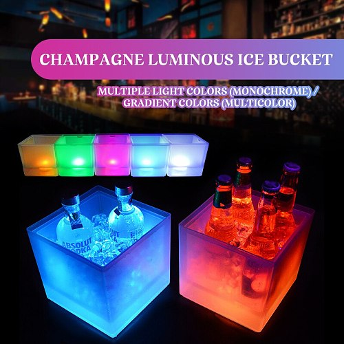 LED Ice Bucket 3.5L Colorful Changing LED Cooler Bucket Double Layer Square Ice Tray For Bar Beer Champagne Wine Drinks Beer
