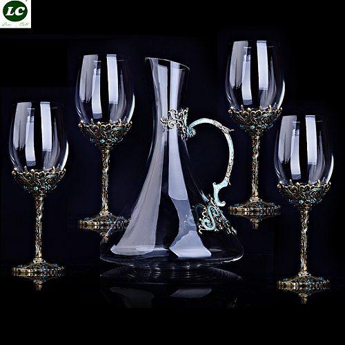 5pcs Wine Glasses High-end Vintage Crystal Red Wine Suit Enamel Glass Goblet Christmas/Wedding Gift Glasses of wine Decanter