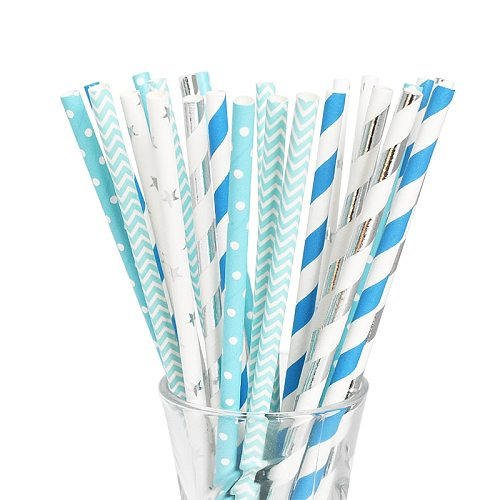 25 50pcs Paper Straws Wedding Party Supplies 19 cm Multicolor Paper Drinking Straws Blue Birthday Baby Shower Decoration