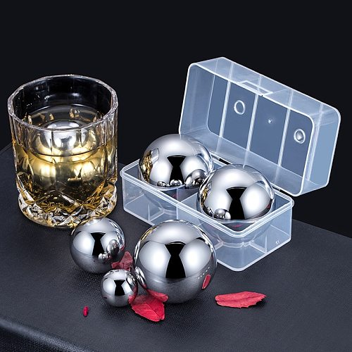 35/55mm Natural Stainless Steel Whiskey Stone Eco-friendly Ice Ball Mold For Whiskey Cube Beer Chiller Bar Stone For Wine Cooler