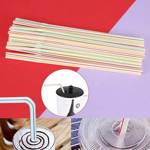 Straws Disposable Elbow Material Juice Drink Milk Tea Straws Random Color Beverage Shops Paja