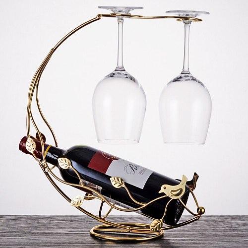 Metal Display Wine Rack Vertical Cup Hanging Luxurious Modern Wine Rack European Ornaments Stojak Na Wino Bar Supplies DE50JJ