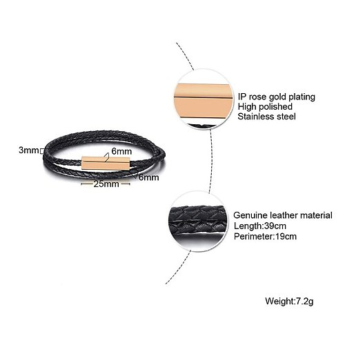 DOUBLE BLACK LEATHER ENGRAVABLE BAR COUPLE BRACELET MATCHING COUPLE JEWELRY GIFT FOR HIM AND HER