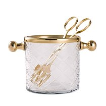 Handmade Brass glass ice bucket with ice clip dining table  cooler  wine  wine rack  ice bucket  champagne  can cooler