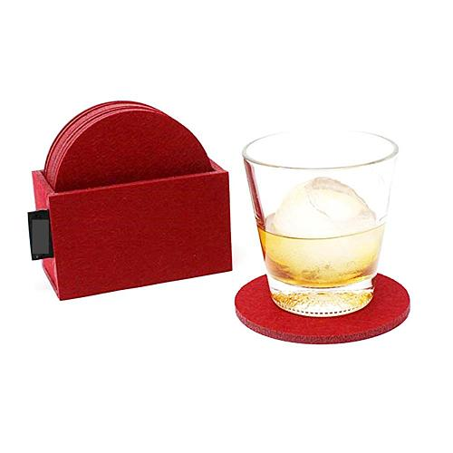 Wine Coaster, Set of 8 Felt Table Round Mat Decoration Tableware Under Cup Pad Protector Placemats Accessories with Holder
