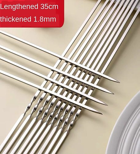 Summer 10 barbecue skewers barbecue sign repeated use flat stainless steel barbecue pin bar outdoor camping picnic tool 35 cm