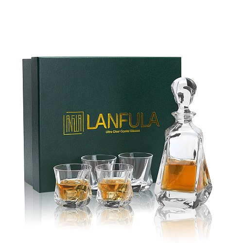 LANFULA Crystal Whiskey Decanter Set Unique Gift for Men Dad Fathers Day, Premium Soctch Bottle with Rock Glasses