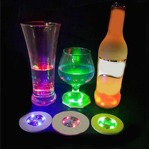 Led Colorful Luminous Coasters Mini Bar Party Flashing Lights Wine Bottle Stickers Cup Decorations
