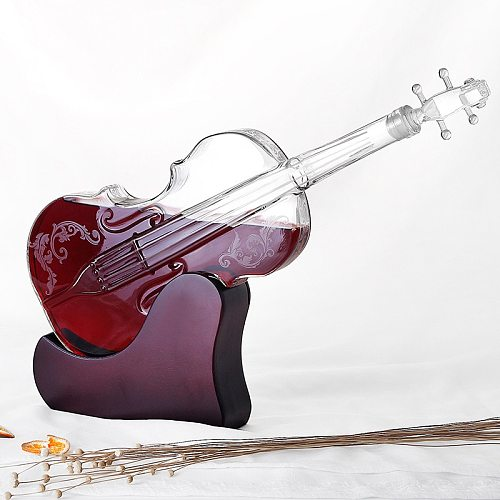Creative Crafts Glass Wine Bottle Violin Shape Wine Separator Wine Set High Boron Glass Red Wine Decanter Home Decoration