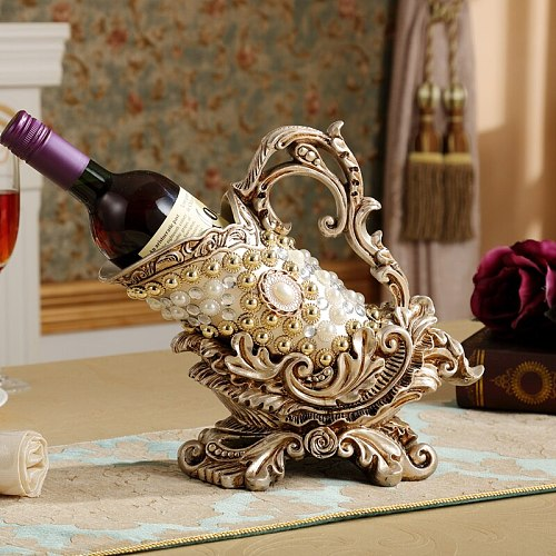 NEWYEARNEW Europe Wine Rack Retro Creative Home Furnishing Ornament Wine Bottle Rack Luxury Living Room Decoration Wedding Gift