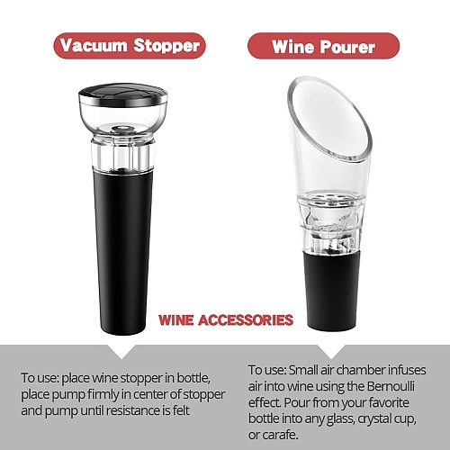 Electric Wine Opener, Automatic Electric Wine Bottle Corkscrew Opener with Foil Cutter for Wine Lover 4-in-1 Gift Set