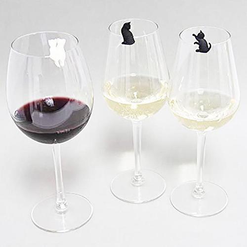 6Pcs Eco-friendly Silicone Wine Glass Recognizer Kitten Wine Glass Recognizer Tea Bag Hanging Meow Wine Glass Marker Bar