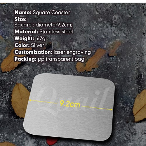 Quail 1pcs wine coaster thermal insulation coaster stainless steel metal Square coaster household Cup Mat