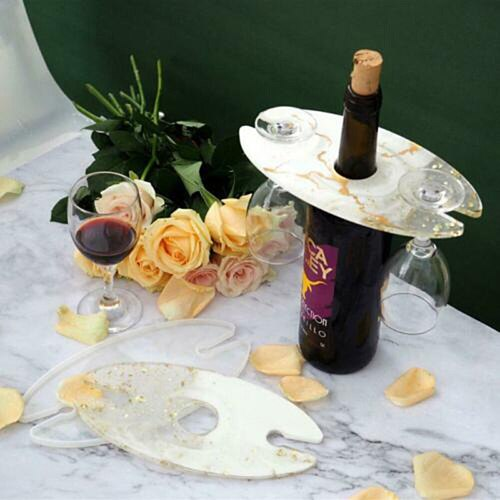 Silicone Wine Rack Resin Mold Glass Tray Epoxy Resin Mould Making Bottle Cup Holder Craft Tool JW