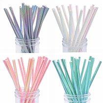 25pcs Rainbow Paper Straws Drinking Straw Disposable Tableware Rainbow Straws for Kids Birthday Wedding Party Decoration Supplie