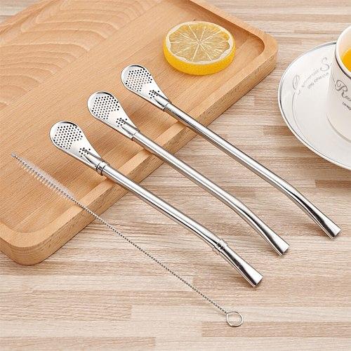 Stainless Steel Drinking Straw Spoon Tea Filter Yerba Mate Tea Straws Reusable Filtered Spoon Tea Tools Drinking Accessories